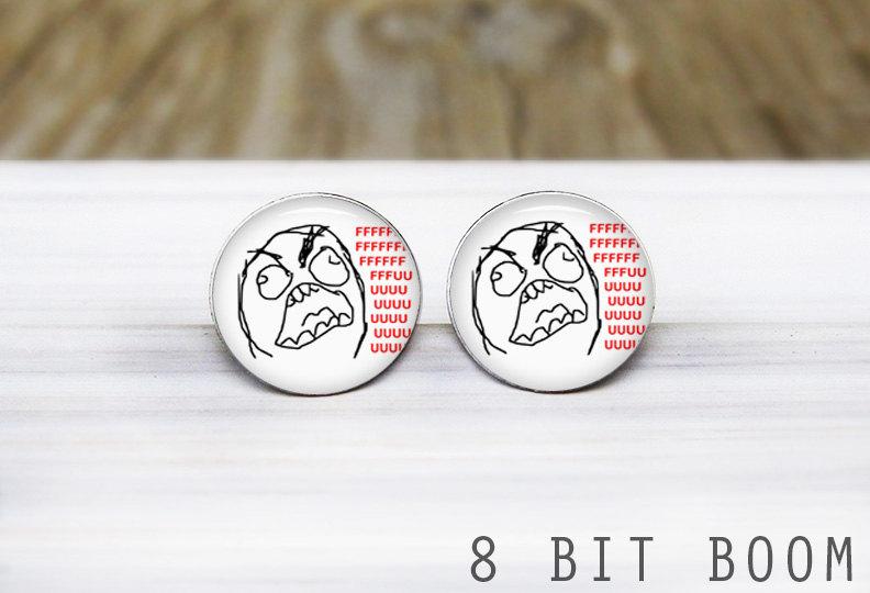 Rage face earrings from Etsy seller 8 Bit Boom